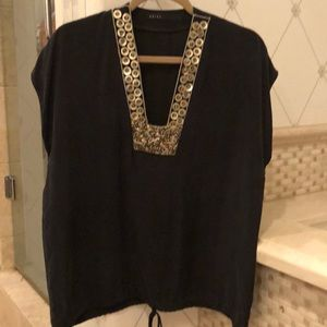 Akiko black silk top with details